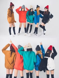 Similar look is a fashion trend in Korea to wear similariy with a group of friends It is pretty much the same as twin look but wi. Korean Fashion Trends, Korea Fashion, Asian Fashion, Seoul Fashion, Cute Fashion, Look Fashion, Girl Fashion, Fashion Styles, Fashion Poses