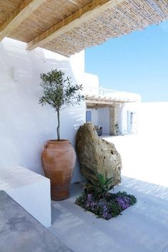 villa in Mykonos Island, Greece Mykonos Island, Mykonos Greece, Santorini, Villa, Outside Living, Outdoor Living, Pergola, Greece Art, Porches