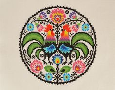 Folk Roosters Cross Stitch Chart - Traditional Folk Inspired Modern Cross Stitch