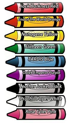 I'm thinking I get some cheap crayons, print the labels up like this, and put them in the party bags with some Doctor Who themed colouring in pages...