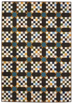"""New Hampshire Nights ~ scrappy quilt of 35 (10"""") twenty-five patch blocks, finished size 66""""w x 94""""h, designed by Marianne Fons ~ $7 digital pattern 