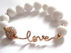So pretty!  Rose Gold Pure Love White Jade & Rose Gold by preciousheartshop, $48.00