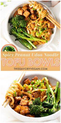 Vegan Udon Noodle Recipe, Tofu Dinner Recipes, Vegan Noodles Recipes, Tofu Meals, Asian Noodle Recipes, Vegan Meals, Vegan Dishes, Veggie Recipes, Asian Recipes