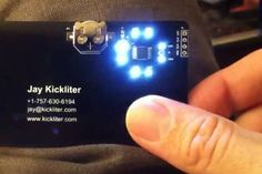 Designed by electrical engineering student Jay Kickliter for a job fair at his school, this capacitive-touch business card stands out from the standard issue. The card features a ring of LEDs tha