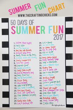 Summer FUN Chart 2017 Sharing a fun black and white version of our summer fun chart for 2017!  I'm also including a blank file that you can print for any year.  Just add the current year or leave it blank. This makes for such an awesome way to count down summer fun.  We love to …