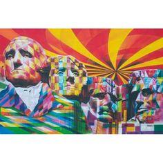 EDUARDO KOBRA - Monte Rushmore - Tinta spray sobre tela - 152x233 cm - a.c.i.d./a.n.v. - Acompanha Documento de Autenticidade emitido pelo Estúdio Kobra #art #auction #street #streetart #kobra #iarremate #grafite