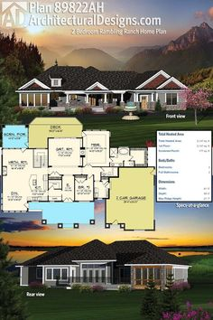 Architectural Designs 2 Bed Rambler House Plan gives you over 2,100 square feet of one-story living. Ready when you are. Where do YOU want to build?