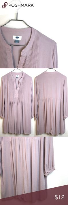 Old Navy Tunic Old Navy Tunic. 100% Rayon. Fully lined. Light mauve color with tuxedo like pin tucks. Wear as a dress or with leggings. Faint spot on right arm as shown in pic 4. Good condition. Size L. Old Navy Tops Tunics