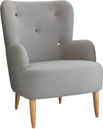 WILMOT GREY Fabric Grey Fabric Armchair With Multi Coloured Buttons    HabitatUK