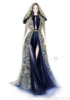 Fashion Illustration Speed Painting with Ink - Drawing On Demand Dress Design Sketches, Fashion Design Sketchbook, Fashion Design Drawings, Fashion Sketches, Dress Illustration, Fashion Illustration Dresses, Fashion Drawing Dresses, Fashion Dresses, Clothes Draw