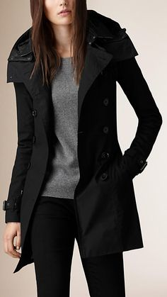Black Hooded Trench Coat with Warmer - Image 1