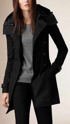 Negro Trench coat con capucha e interior acolchado - Imagen 1