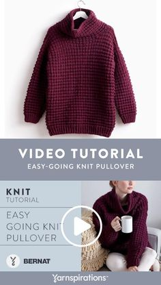 Watch our knitting tutorial video to learn how to knit a sweater! Get our free b. : Watch our knitting tutorial video to learn how to knit a sweater! Get our free beginner-friendly pattern here and see the stitch design come to life. Beginner Knitting Projects, Knitting Kits, Knitting For Beginners, Start Knitting, Easy Sweater Knitting Patterns, Free Knitting Patterns For Women, Knitting Sweaters, Learn How To Knit, Crochet Clothes