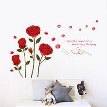 Red Rose Leven Is De Bloem Citaat Muursticker Mural Decal Thuis Kamer Art Decor DIY Romantische Heerlijke Bruiloft Decoratie(China (Mainland))