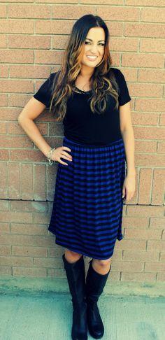 Blue and Black Stripe Dress-Cozy Couture #dress