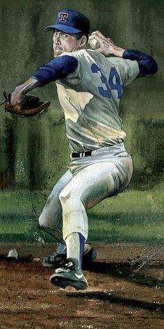 Nolan Ryan Art Print by Rich Marks : Baseball Art Print featuring the painting Nolan Ryan by Rich Marks Baseball Tips, Baseball Art, Baseball Pictures, Baseball Savings, Baseball Games, Baseball Snacks, Old Baseball Cards, Baseball Cupcakes, Baseball Scores