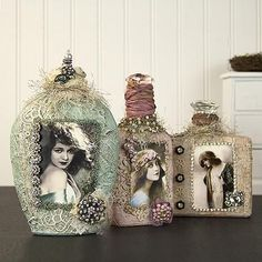 Vintage Altered Shabby Chic Bottles -- Add these shabby chic accents to bedroom or bath.  #decoartprojects