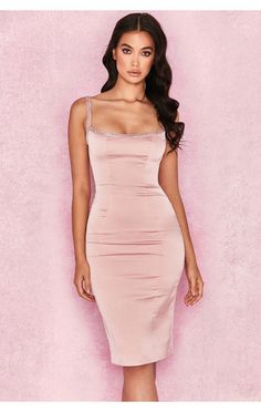 ccb9b2c1129e Clothing : Bodycon Dresses : 'Camilla' Pink Satin Dress with Hand Sewn  Crystals
