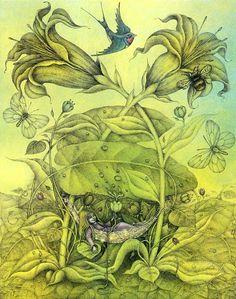 Wayne Anderson (Thumbelina by Hans Christian Andersen) Hans Christian, Fairy Land, Fairy Tales, Wayne Anderson, Baumgarten, Fairytale Fantasies, Fairytale Art, Children's Book Illustration, Faeries