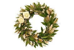 """17"""" Integrifolia & Roses Wreath, Natural This classic wreath with subtle whites and greens is perfect for any decor.  Made of: fresh bay, integrifolia, lepidium, faux roses.  Keep away from direct sunlight.  Display away from heat sources to prolong freshness."""