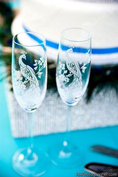 Crystal Champagne Flutes, Peacock Wedding Toasting Flutes, Personalized