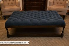 My completed diamond upholstered coffee table ottoman, inspired by one I saw at Layla Grayce for over $1200.