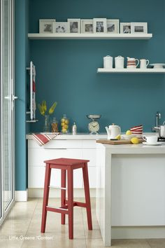 Another image from Barr Kitchens paint supplier - The Little Greene Paint Co. showing the use of bold colours with the simplicity of beautiful contemporary joinery - BarrKitchens approve!