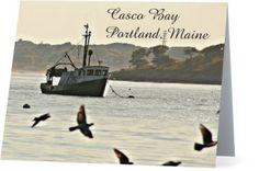 Fishing Boat in Casco Bay Note Card, New England, Portland, Maine by BackDownSea…