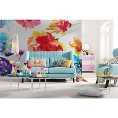 Passion Wall Mural by Brewster Home Fashions Wall Design, House Design, Interior Decorating, Interior Design, Diy Décoration, Floral Wall, Wall Wallpaper, Watercolor Wallpaper, Watercolor Painting