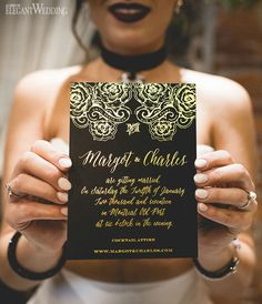 Black and Gold Wedding Invitations with Foil www.elegantwedding.ca