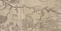 Sami priest with drum, tent, reindeers and a fishing boat drawn on a map from 1626 over present areas of Norway, Finland and Kola Peninsula in Russia.