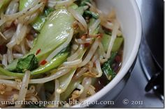 Under The Copper Tree: DINNER: Bok Choy & Sprouts Stir Fry