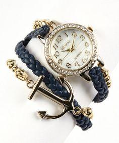 Another great find on #zulily! Navy & Gold Anchor Wrap Watch by Geneva Platinum #zulilyfinds