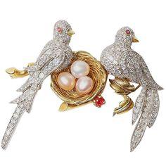 Diamond Encrusted Doves Nesting Brooch 1