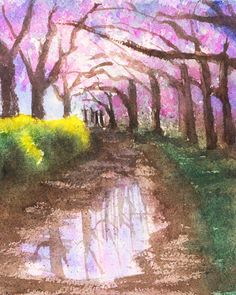 Watercolor Painting Techniques, Watercolor Landscape Paintings, Landscape Art, Spring Painting, Garden Painting, Watercolor Illustration, Watercolor Art, Cherry Blossom Watercolor, Watercolor Pictures