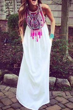 Color Block Print Tassel Sleeveless Maxi Dress