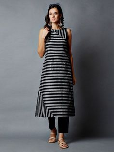 Green Blue Striped Cotton Kurta - All About Long Kurta Designs, Simple Kurta Designs, Salwar Neck Designs, Churidar Designs, Kurta Neck Design, Kurta Designs Women, Blouse Designs, Latest Kurta Designs, Kurta Patterns