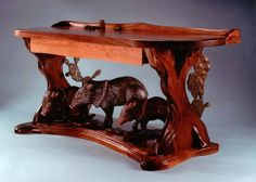 Carved bench - wild boars