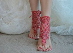 Red silver barefoot sandals barefoot sandals iovry by UnionTouch Bare Foot Sandals, Beach Sandals, Barefoot, Peep Toe, Weddings, Trending Outfits, Unique Jewelry, Heels, Lace