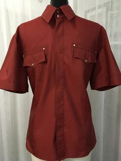 Versace Red Short Sleeve Made In Italy Men's Button Up Shirt Slim Fit Size XXL #Versace #ButtonFront