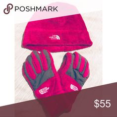 Hot pink North Face beanie and gloves Fuzzy hot pink hat and gloves in perfect condition. Only worn twice & bought a new jacket that they won't match! Willing to sell them separately if needed. The North Face Accessories Gloves & Mittens