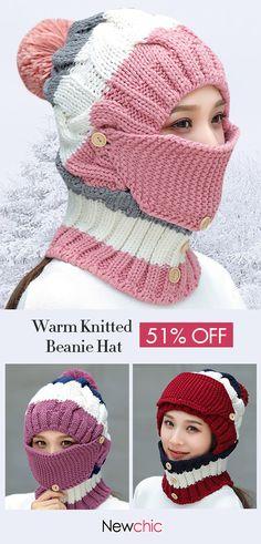 67643474193 Women Warm Masks Knitted Hat Collar Scarf Set Outdoor Riding Windproof Plus  Velvet Hood Hat