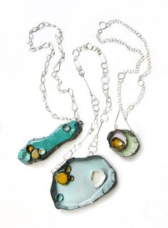 Barnacle Necklaces by Kate Bauman Mess - Vitreous enamel, copper, fine silver, handmade sterling silver chains