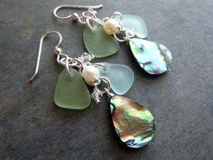 Mermaid Sea Glass Earrings Abalone Shell Chandelier by TheMysticMermaid