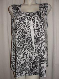 Style&co. Black White Gray Shirt Sleeveless Graphic Print Polyester Top Sz XL #Styleco #TankCami #Casual