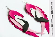 Flamingo earrings, leather cut out earrings, DIY earrings template, feathers PDF, flamingo party decor printables, hot pink earrings