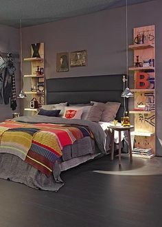 Liking this grey bedroom..so much visual interest