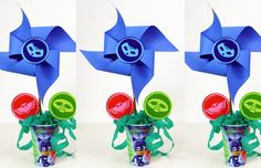 COMO FAZER CENTRO DE MESA FESTA PJ MASKS DE CATAVENTO Festa Pj Masks, Panda Party, Wind Spinners, Ideas Party, Paper Strips, Centerpieces, Mesas
