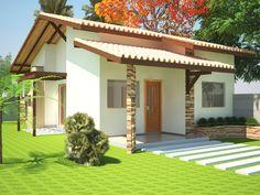 ProjetarCasas: Planta de Casas   Planta de casa térrea; 2 quartos, varanda e cozinha americana - Cód 28
