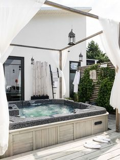 The History of Jacuzzi Outdoor Refuted Some Jacuzzi bathtubs have the capacity to run even when there's no water in the tub. Deciding upon a Jacuzzi bathtub on a normal bathtub has its benefits and disadvantages. Pergola Shade, Pergola Patio, Backyard, Pergola Kits, Outdoor Spaces, Outdoor Living, Outdoor Glider, Mini Pool, Jacuzzi Outdoor